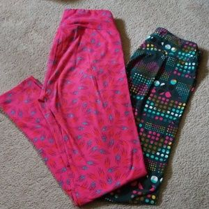 LULAROE leggings 2 pair OS